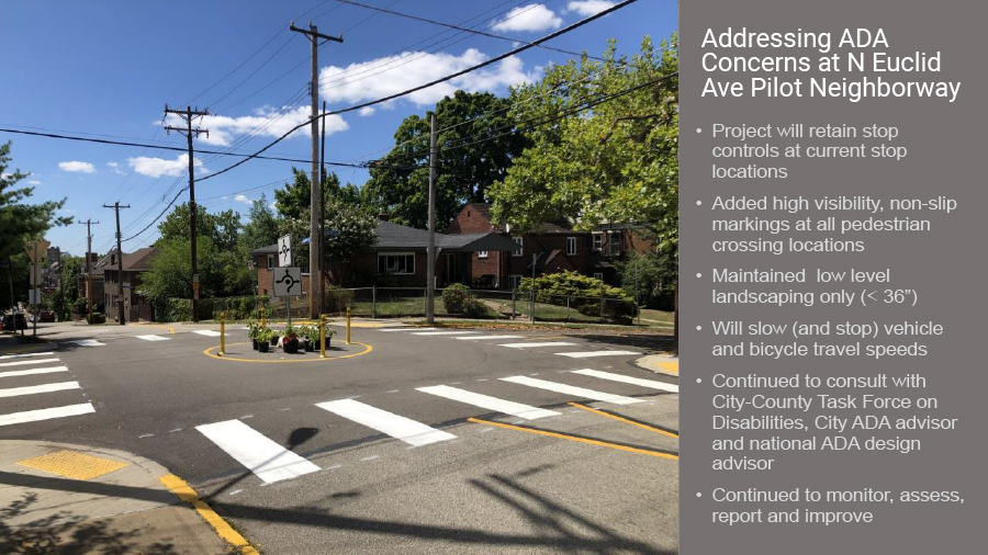 Image shows the mini traffic circle with high visibility crosswalks. Additionally, there is text that shows how ADA concerns were addressed, details in the following text.