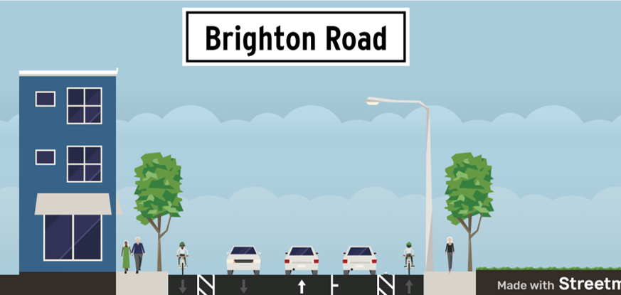 image drawing shows the proposed cross section of Brighton Rd. Moving from left to right, street shows sidewalk, southbound painted buffered bike lane, motor vehicle travel lane south, motor vehicle travel lane north, parking lane, bike lane north, sidewalk
