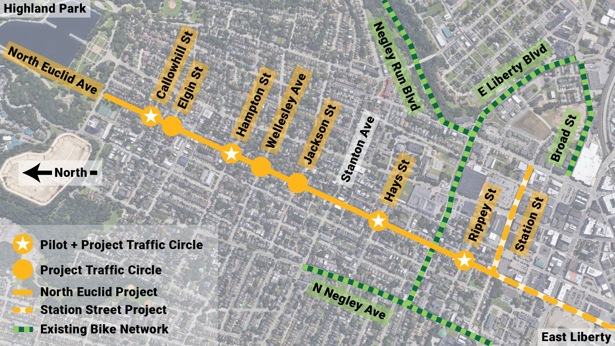Map showing the project extents from Bunker Street to Station Street as well as the location of traffic circles and other nearby bike routes, for more information please see the full project page linked at the end of this page.