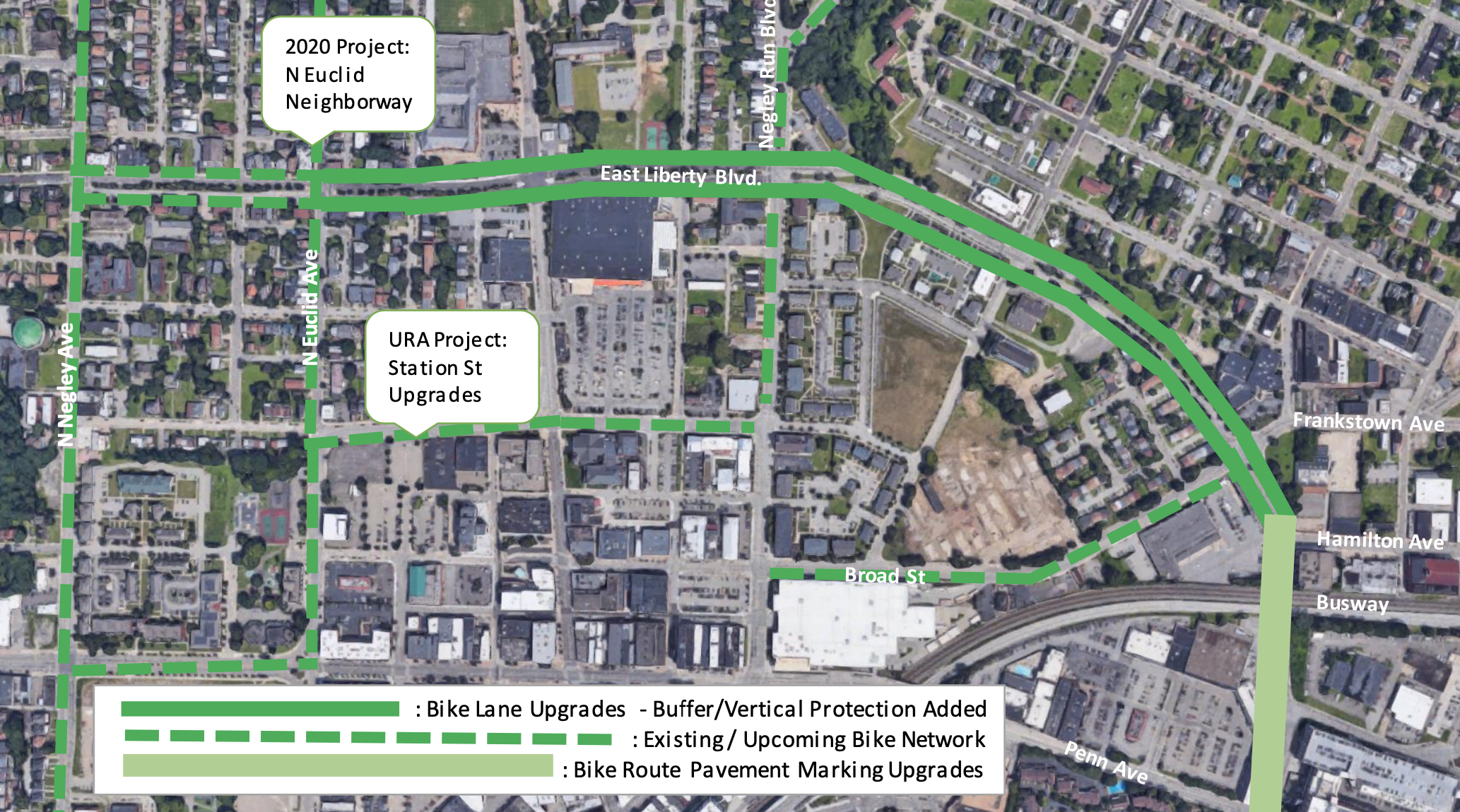 Image is a map of the project limits along East Liberty Blvd, between Negley Ave and Penn Ave