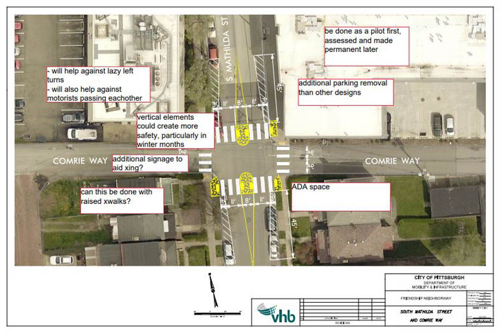 overhead of comire way and mathilda st without the diverter. cars on comrie can continue straight through. there are pedestrian refuge islands and high visibility crosswalks across mathilda