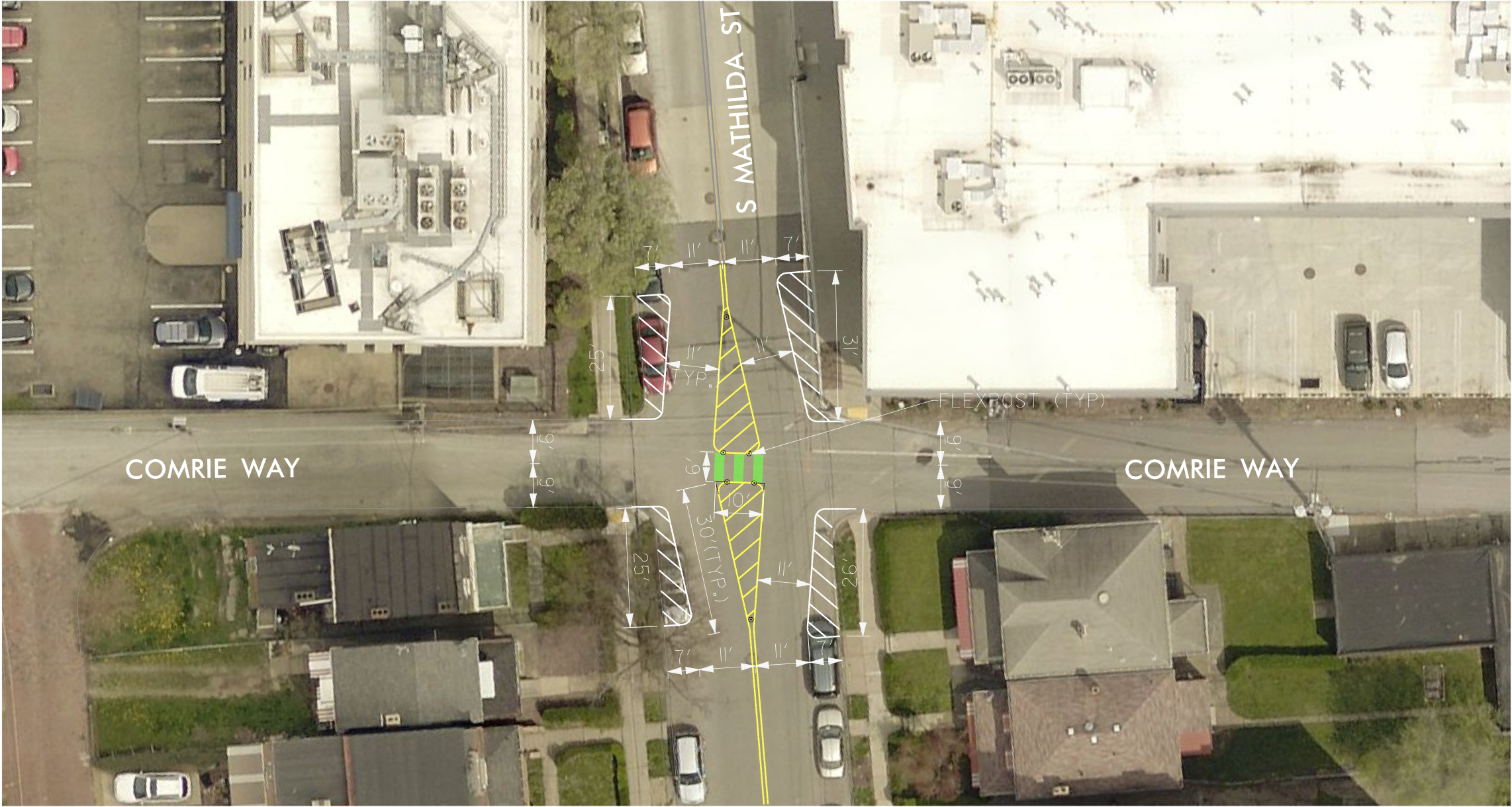image of an overhead of comrie way and mathilda st showing the traffic diverter. cars on comrie way must turn and cannot continue through