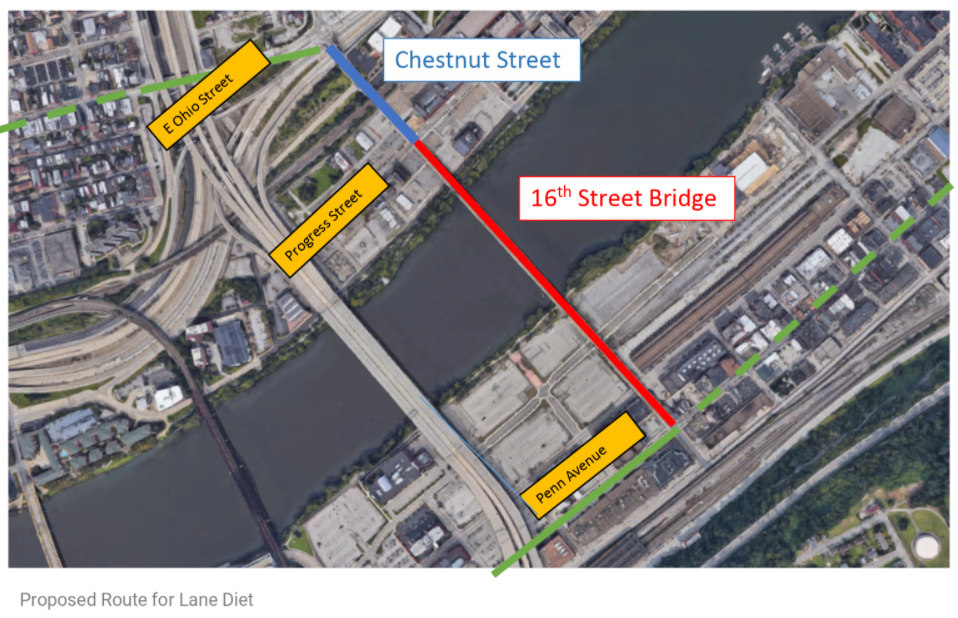 Image shows a map of the area with the 16th Street Bridge crossing the Allegheny River