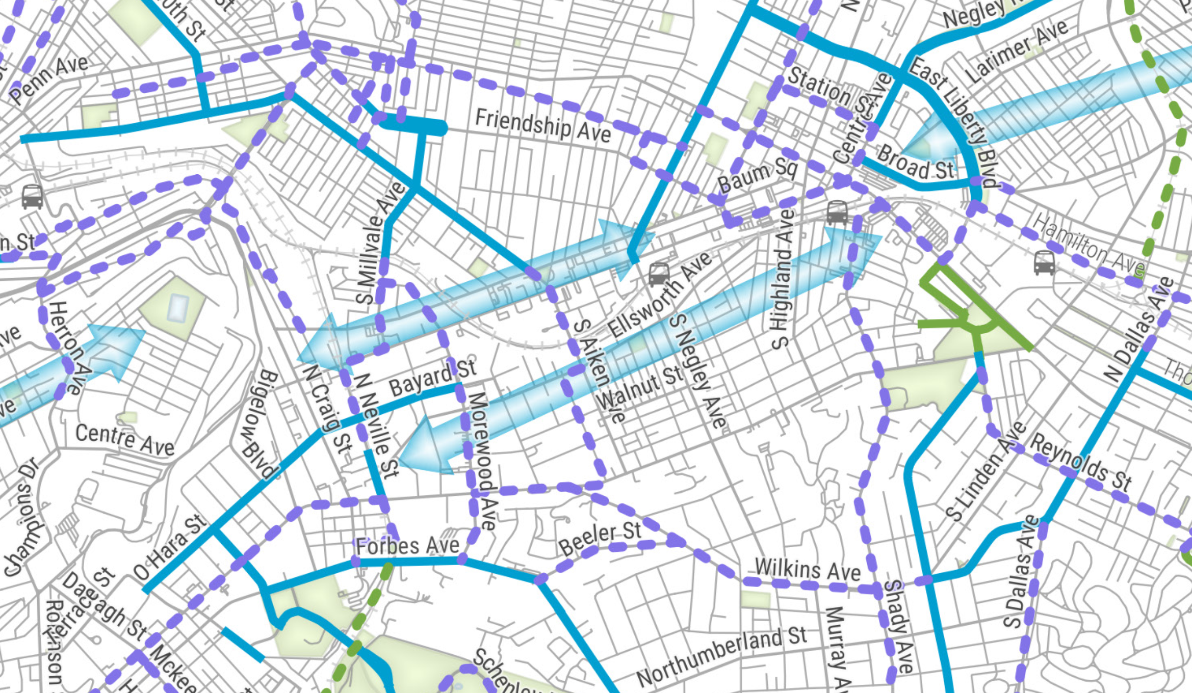 Image shows a map from the Bike Plan showing Ellsworth as a missing gap.