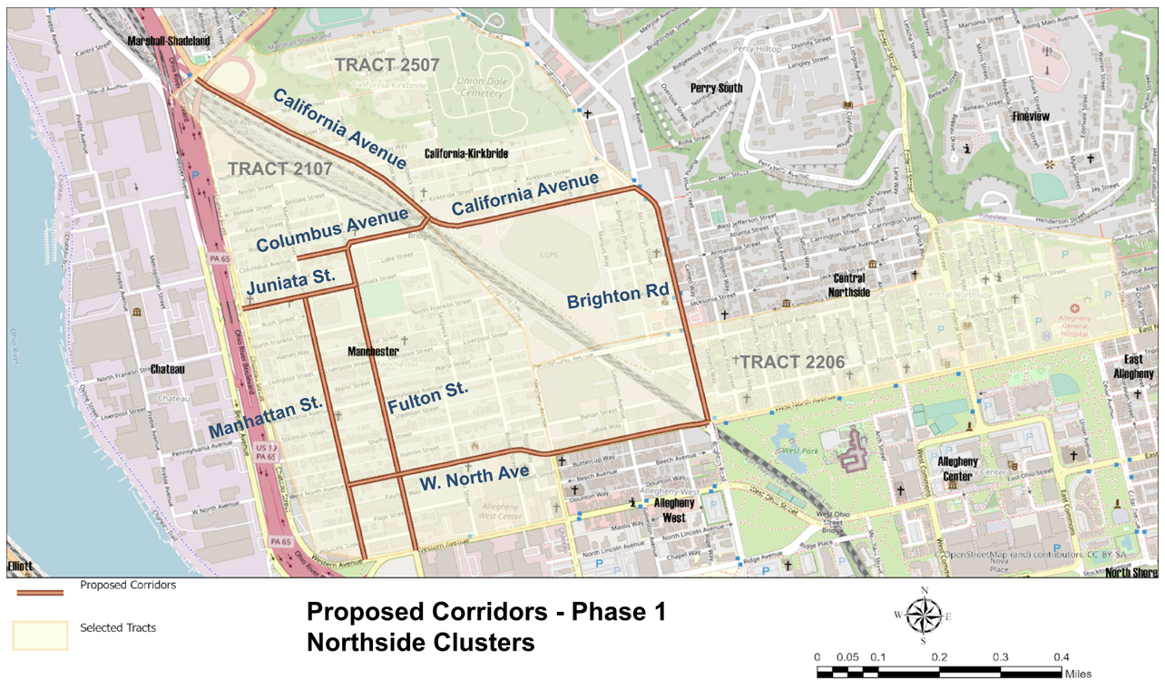 Image is a map of the Northside showing the proposed streets within the network