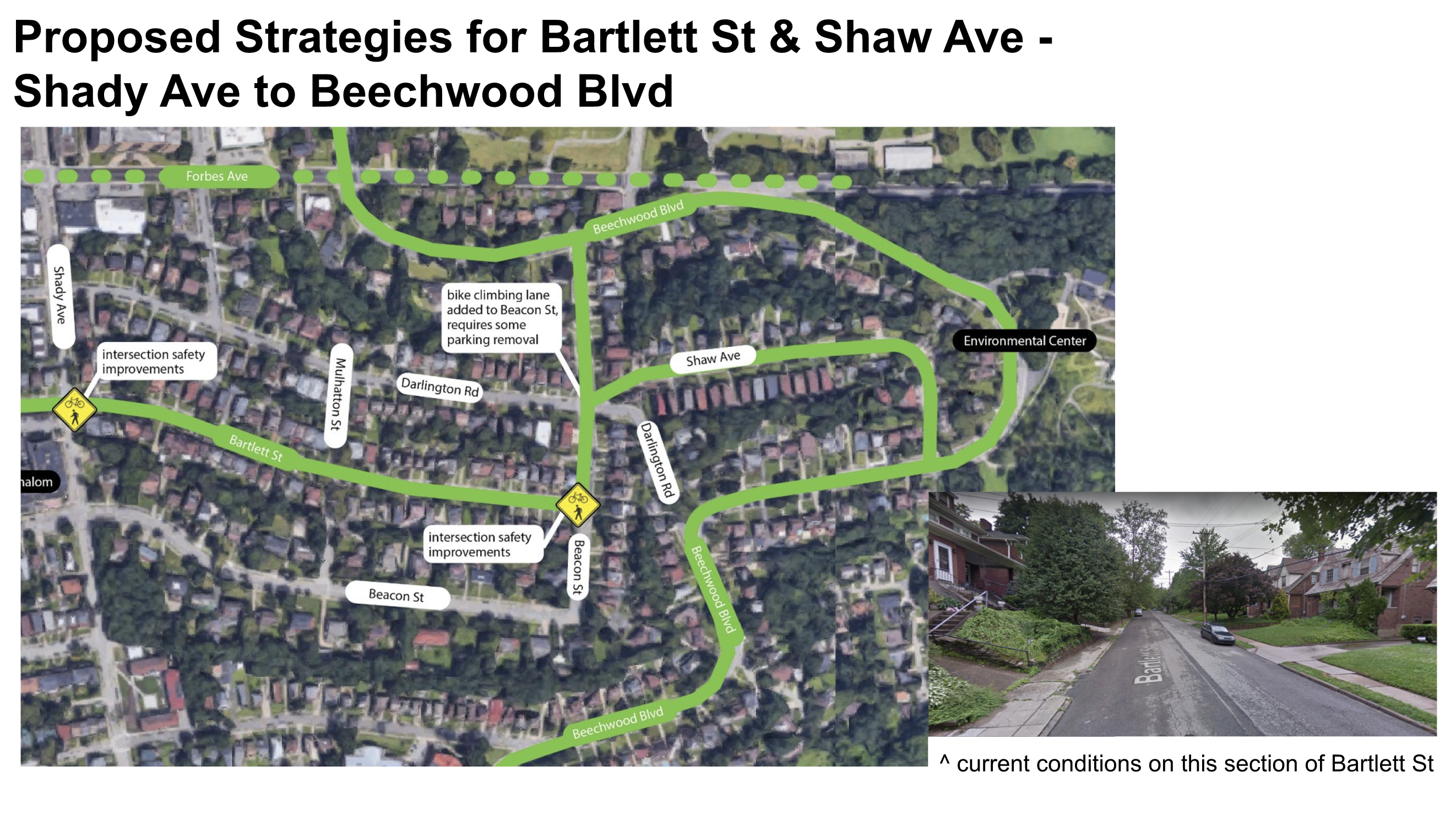 Image shows a map of the proposed bike connections along Bartlett St, Beacon St, and Shaw Ave connecting to the existing bike lanes on Beechwood Blvd